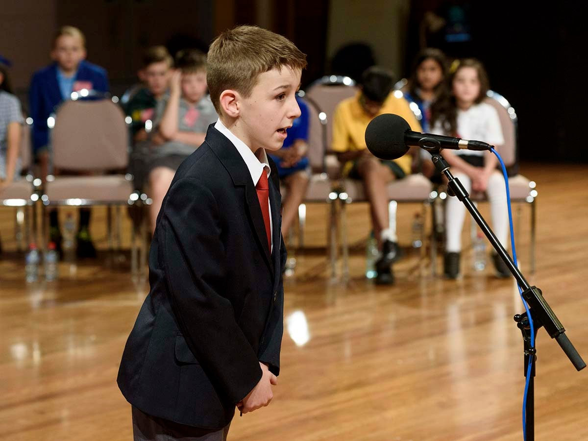 Lucas Guiney from Forster Public School at last year's Premier's Spelling Bee state final