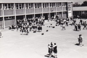 The main quad at Dapto High School in the 1960's